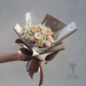 情人節花束大地色封面,韓式乾燥花束,台北乾燥花店