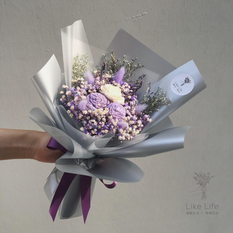 韓式包裝乾燥花束紫色封面