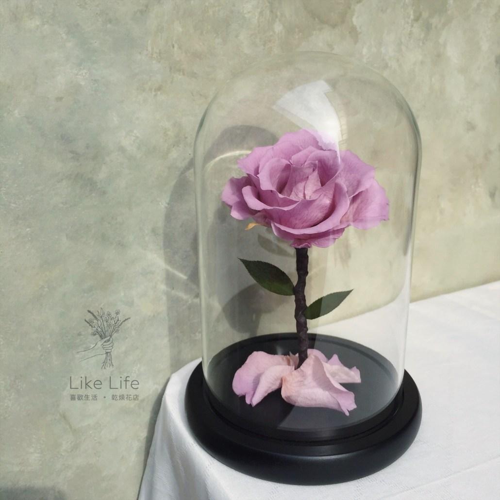 永生玫瑰花玻璃罩紫色意境