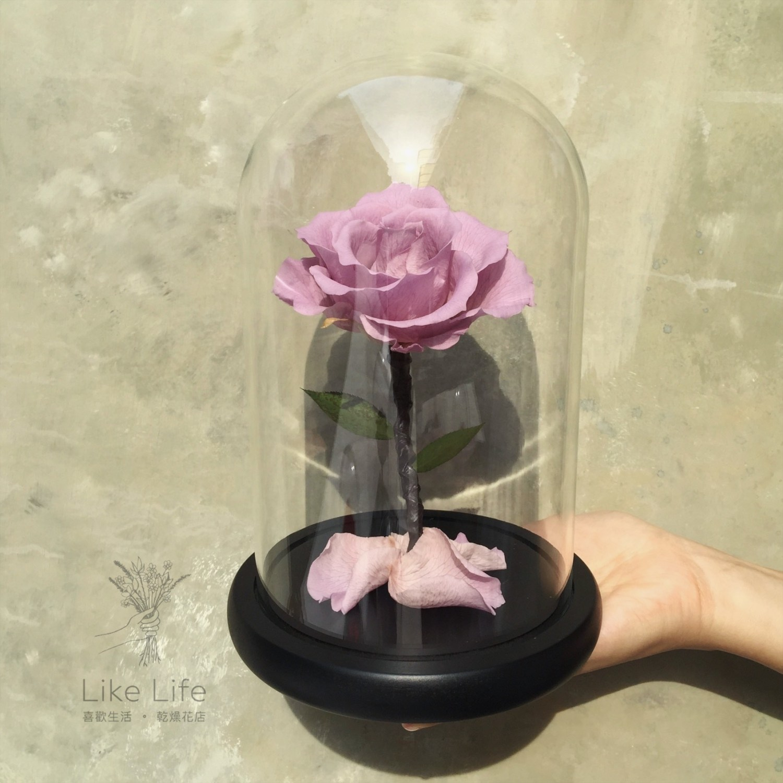永生玫瑰花玻璃罩紫色手拿,台北永生花推薦
