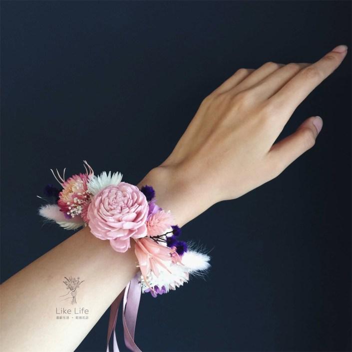 永生花手腕花-粉紫色
