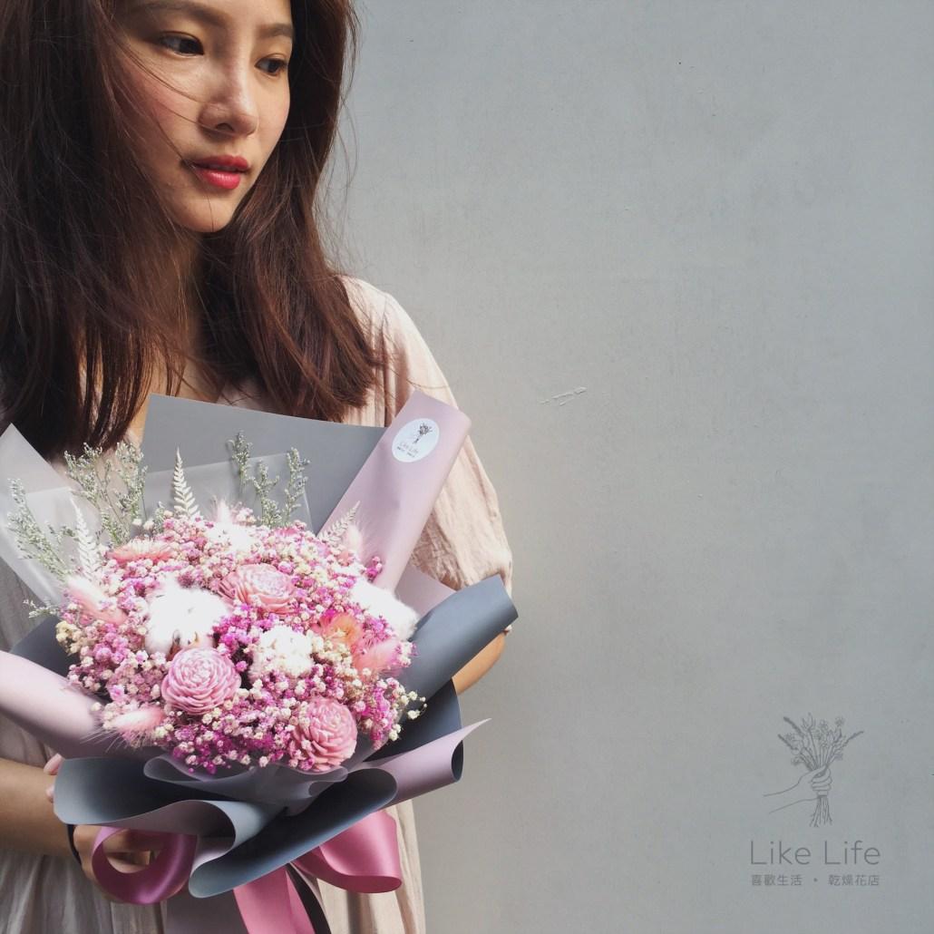 母親節花束推薦,粉色母親節乾燥花束,台北母親節花束推薦