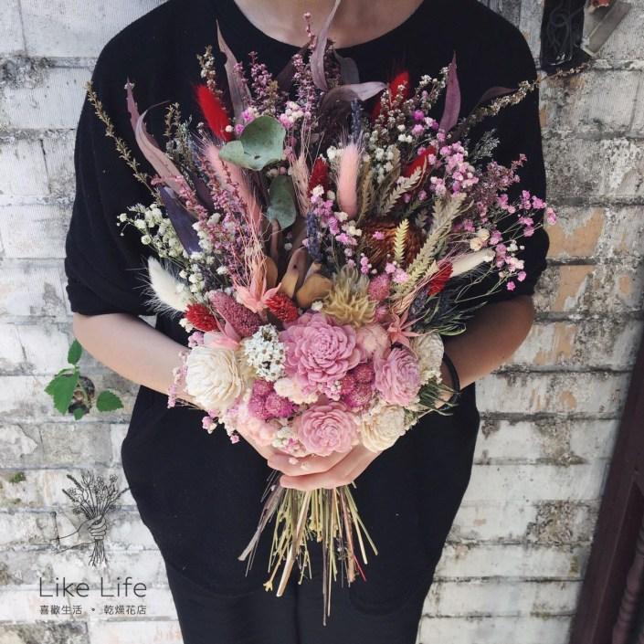 韓式長型手綁乾燥捧花-隨興櫻花粉