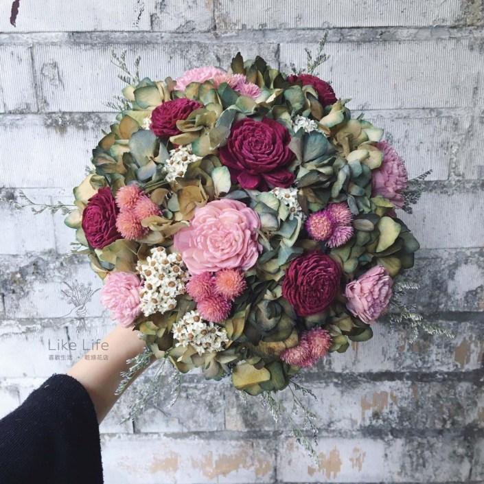 歐式圓型乾燥捧花-古典紅