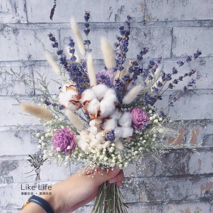 韓式長型手綁乾燥捧花-薰衣草捧花