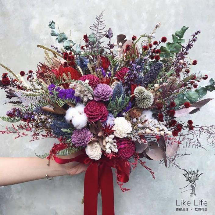 美式扇型新娘捧花-個性紅