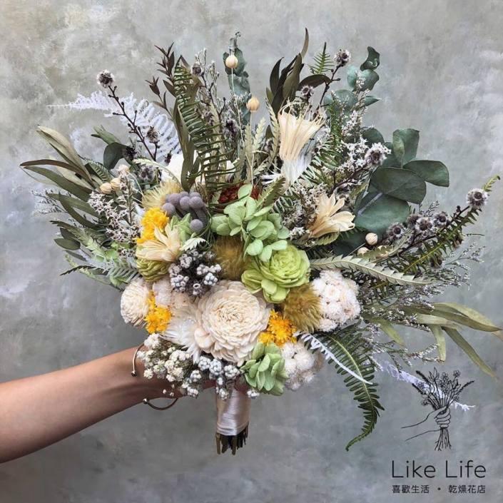 韓式扇型手綁乾燥捧花-自然綠