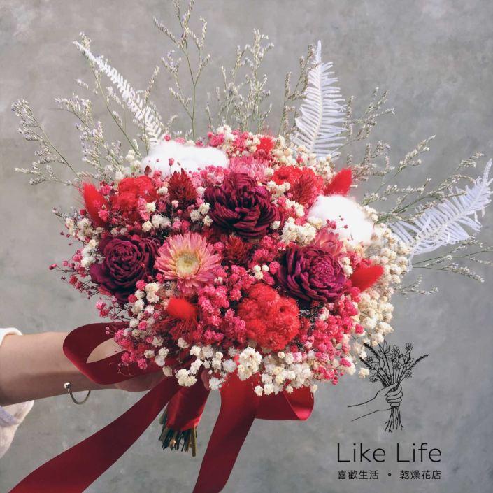 手綁款乾燥新娘捧花-紅色系