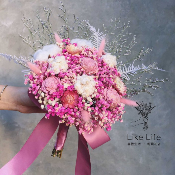 設計款乾燥新娘捧花-粉色系