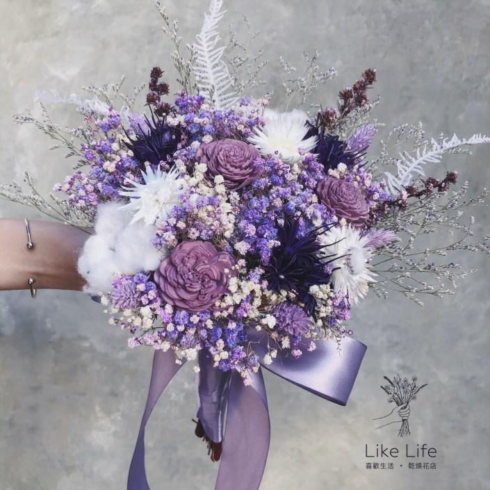 手綁款乾燥新娘捧花-紫色系