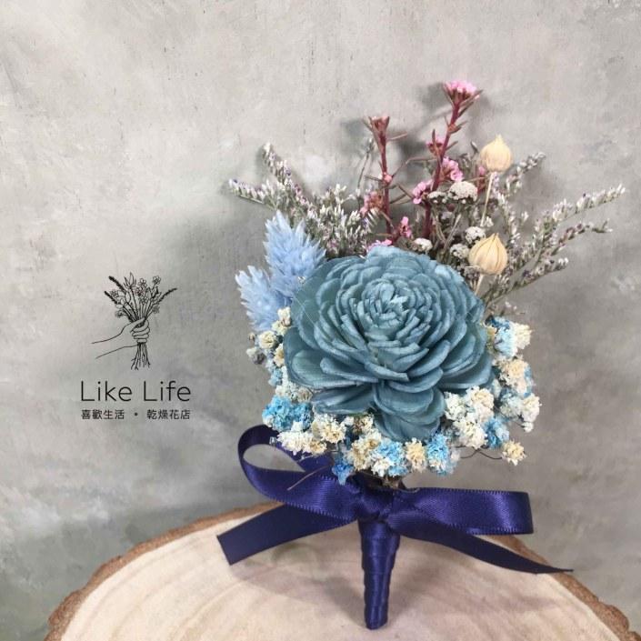 設計款乾燥花胸花-玫瑰藍