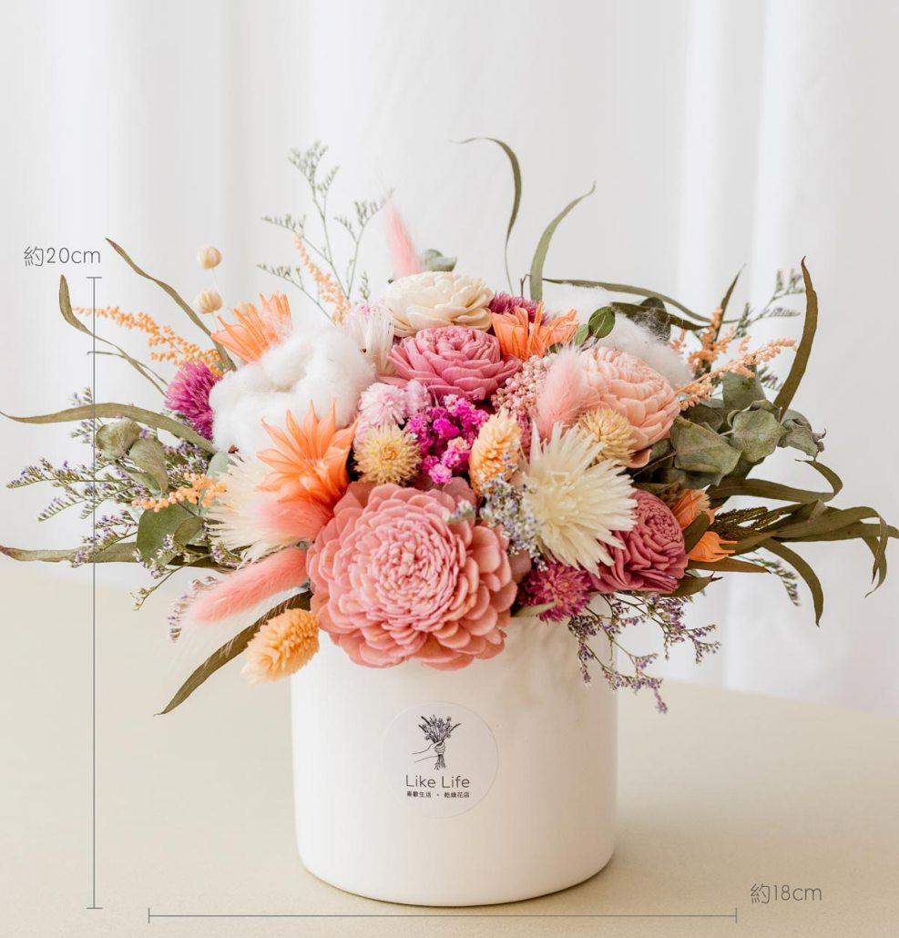 乾燥花開幕盆栽,粉色乾燥花盆栽開幕尺寸