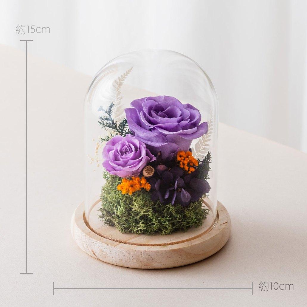 永生花玻璃鐘罩-紫色尺寸照片