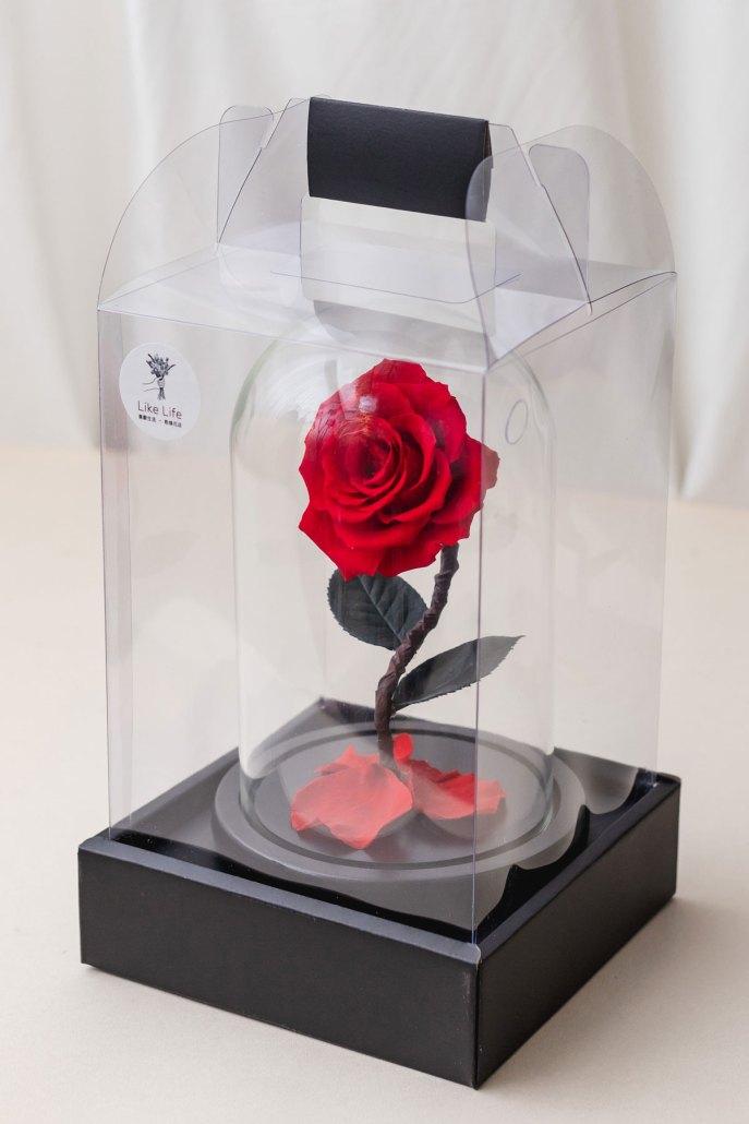 永生花玻璃盅罩-小紅(包裝)