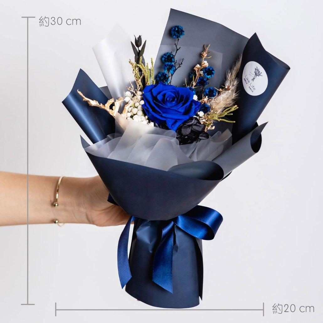 永生花藍色公分,藍色永生花玫瑰