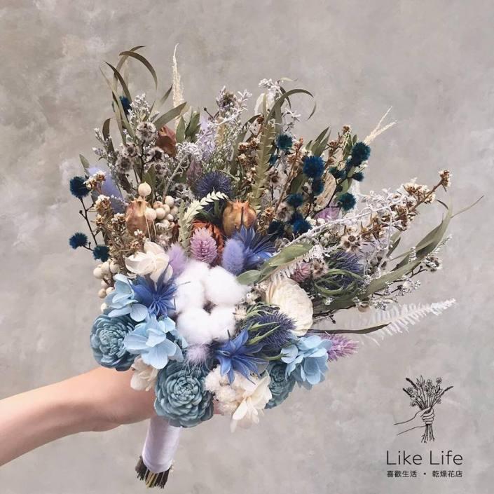 韓式長型手綁乾燥捧花-白藍配色