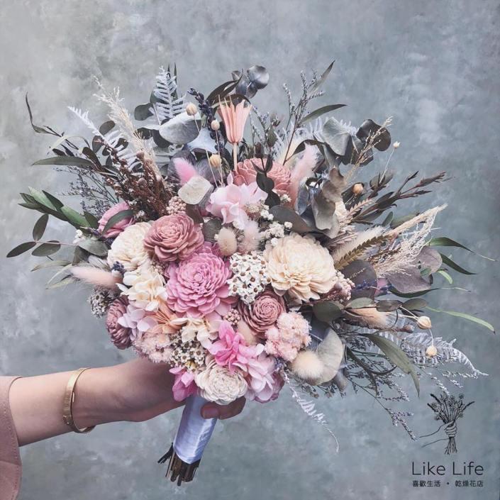 韓式長型手綁捧花-自然粉