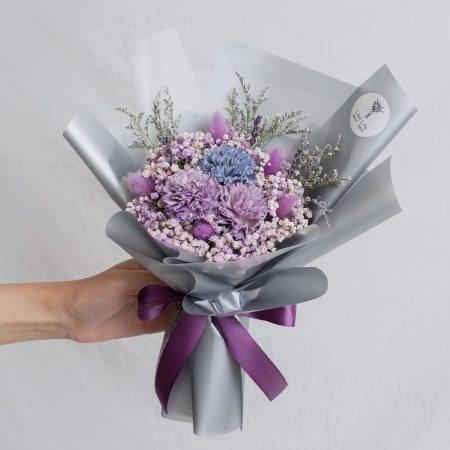 康乃馨紫色乾燥花束手拿-台北喜歡生活乾燥花店紫色