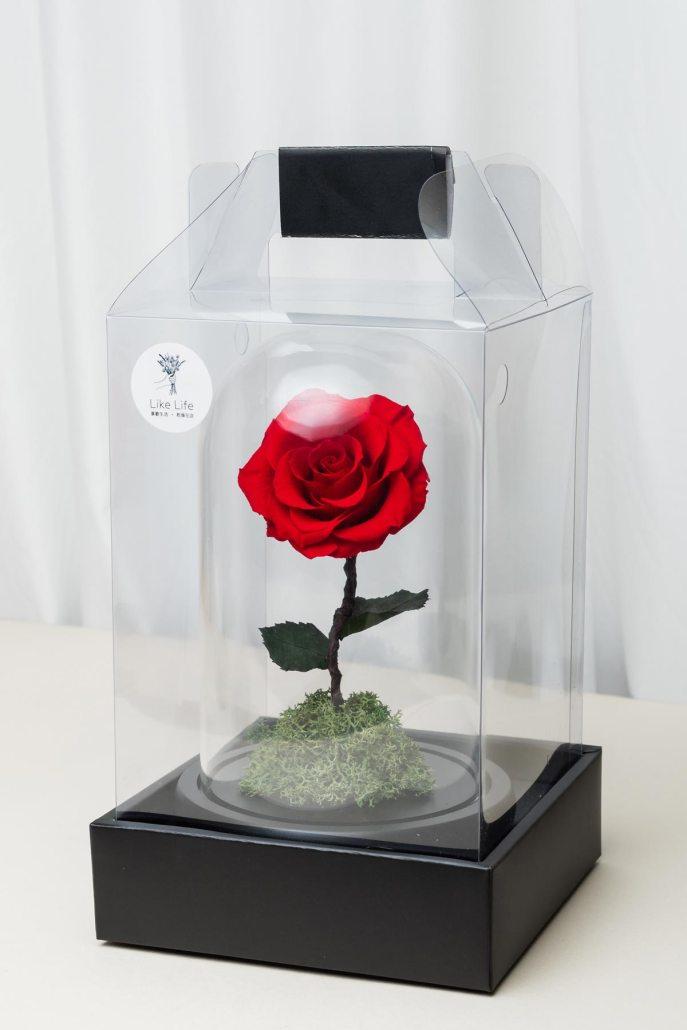 永生玫瑰花玻璃罩禮盒包裝-喜歡生活乾燥花店