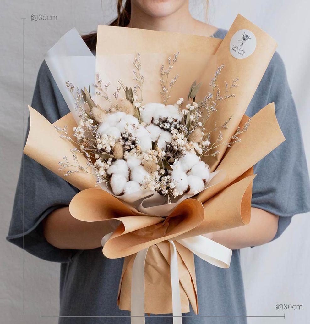 求婚乾燥花束推薦,台北求婚玫瑰乾燥花束棉花花束,喜歡生活乾燥花店公分