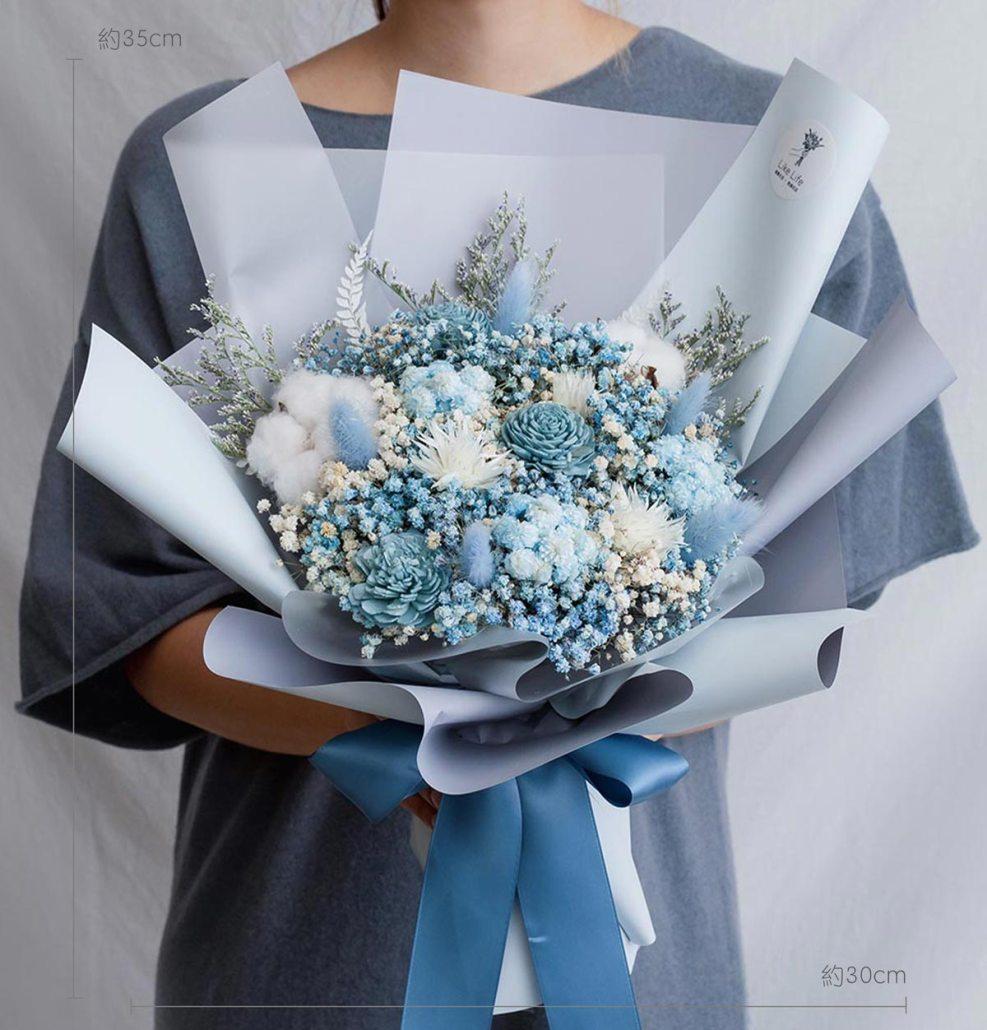 求婚乾燥花束推薦,台北求婚玫瑰乾燥花束藍色,喜歡生活乾燥花店公分