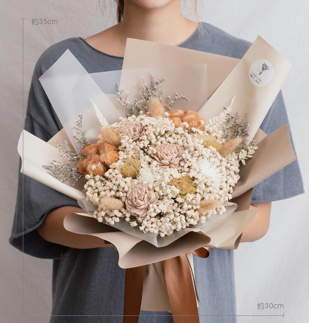 求婚乾燥花束推薦,台北求婚玫瑰乾燥花束裸色,喜歡生活乾燥花店公分