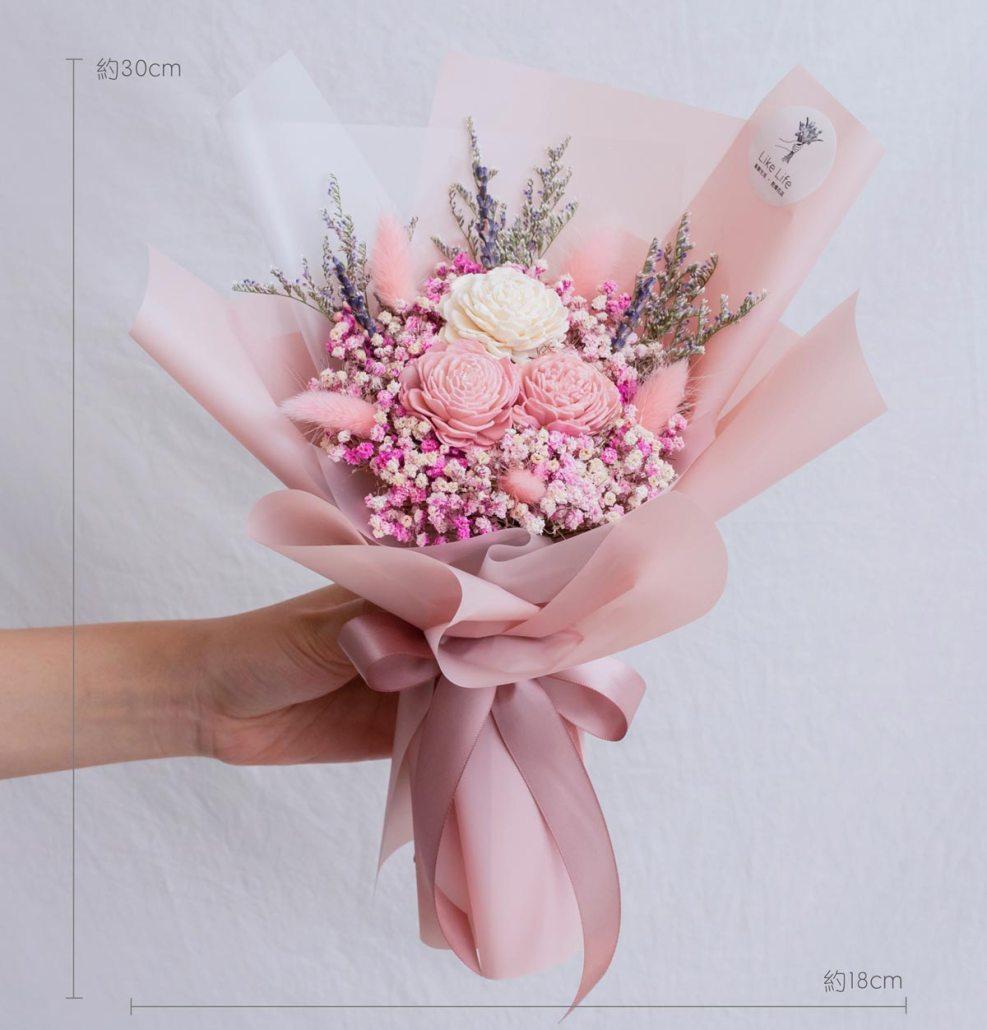 粉色玫瑰乾燥花束,玫瑰乾燥花束粉色公分,台北喜歡生活乾燥花店