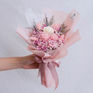 粉色玫瑰乾燥花束,玫瑰乾燥花束粉色封面,台北喜歡生活乾燥花店