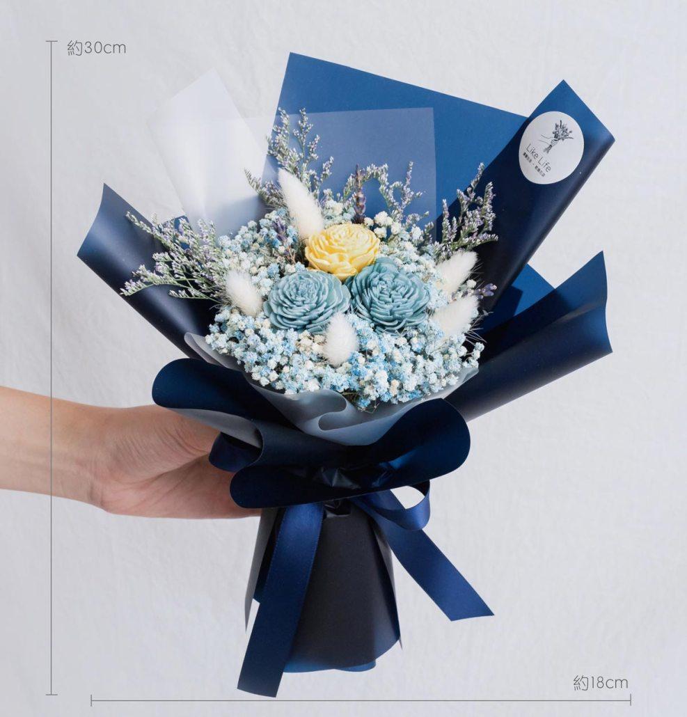 藍色玫瑰乾燥花束,玫瑰乾燥花束藍色公分,台北喜歡生活乾燥花店