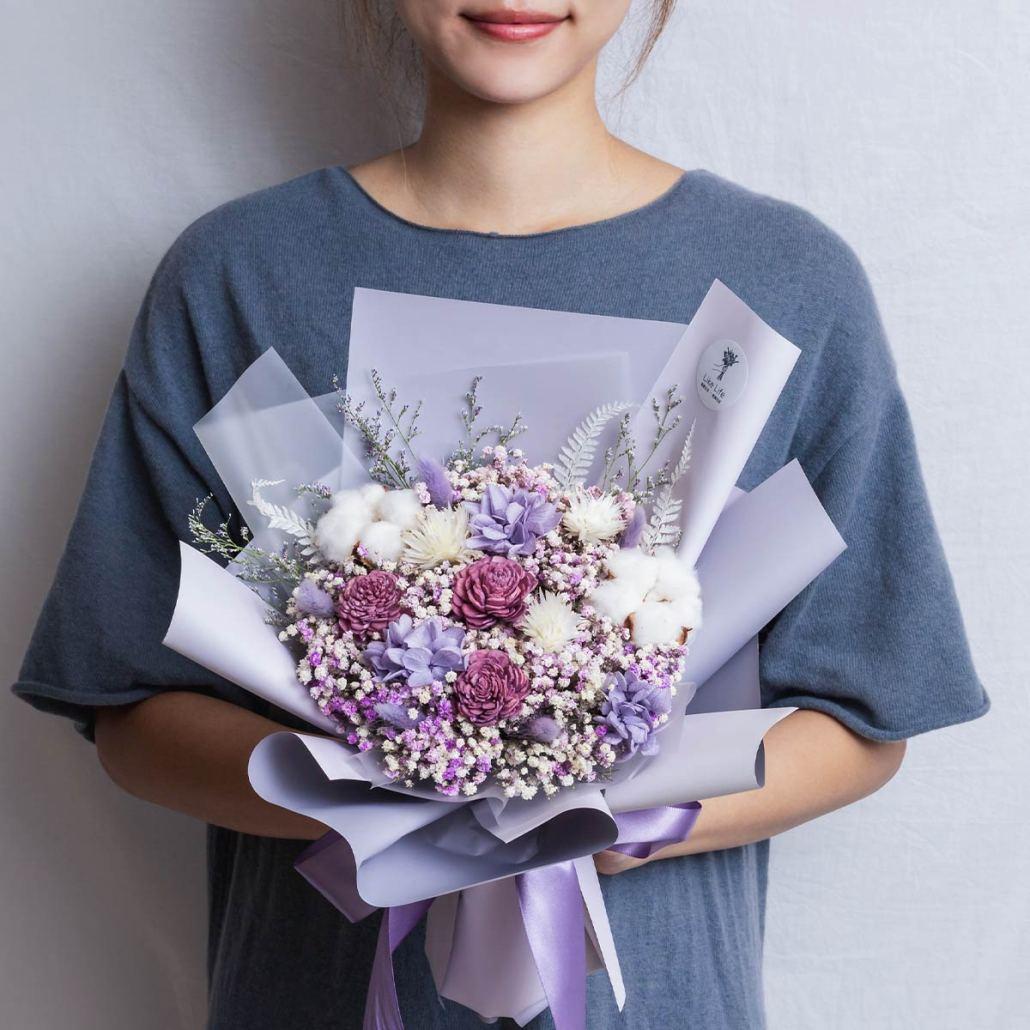 紫色乾燥花束,紫色求婚花束推薦,台北喜歡生活乾燥花店