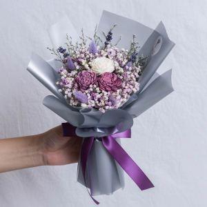 紫色玫瑰乾燥花束手拿封面,台北喜歡生活乾燥花店,紫色乾燥玫瑰花