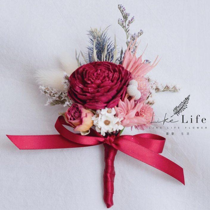 伴郎乾燥花胸花,乾燥花胸花,紅色胸花設計
