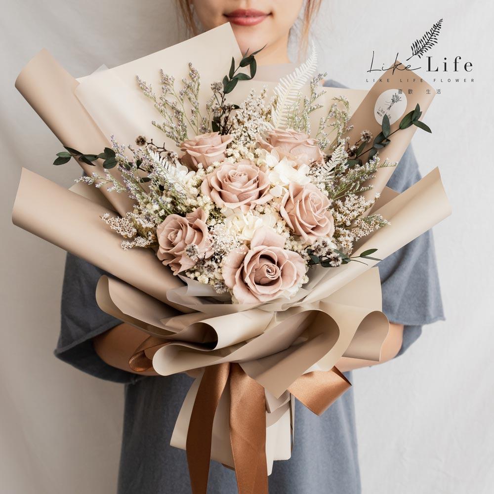 永生花束大地色,永生花束台北推薦,裸色永生花束,台北喜歡生活乾燥花店