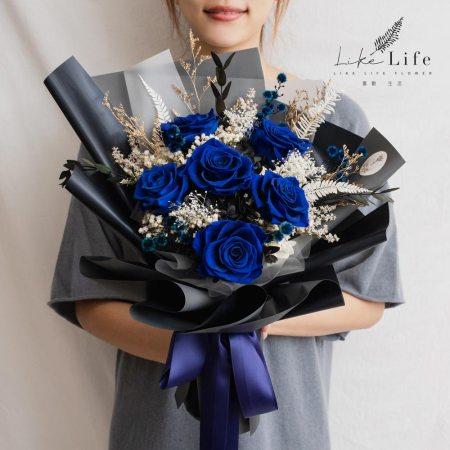 永生花束寶藍色,永生花束台北寶藍色推薦,喜歡生活乾燥花