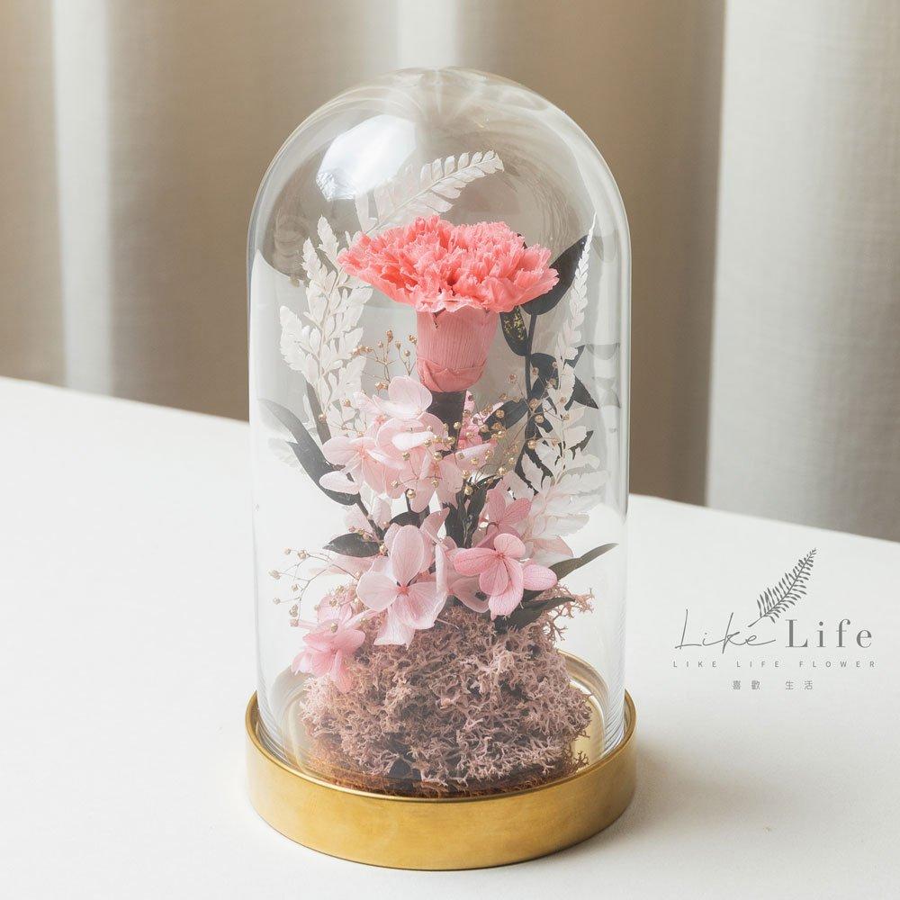母親節永生花康乃馨花束粉色,永生花康乃馨玻璃罩推薦
