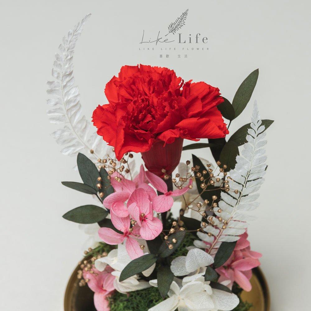 母親節永生花康乃馨花束紅色,永生花康乃馨玻璃罩推薦特寫