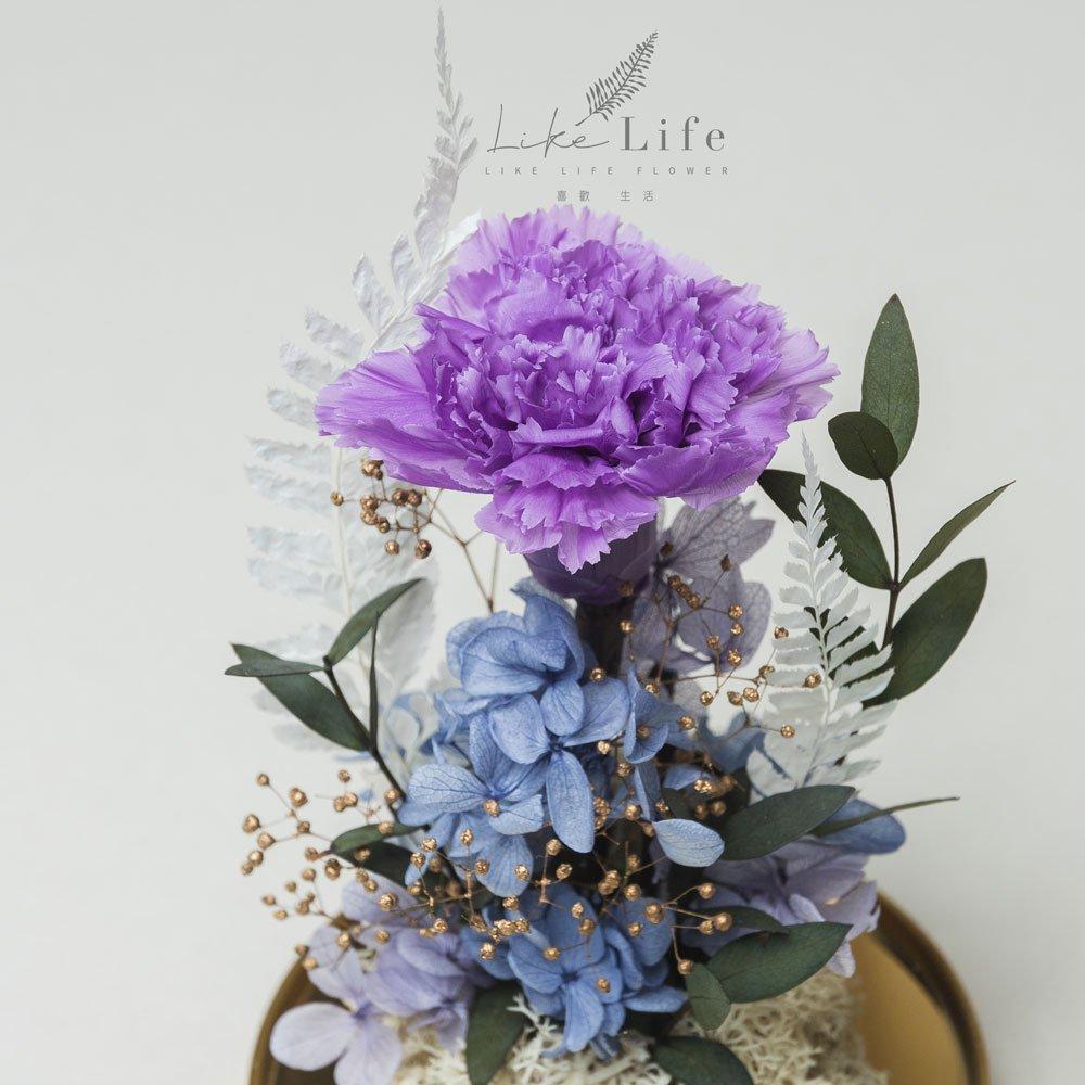 母親節永生花康乃馨花束紫色,永生花康乃馨玻璃罩推薦特寫
