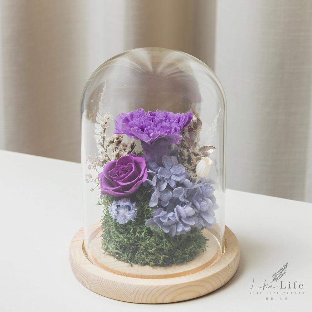母親節永生花玻璃罩紫色永生花康乃馨