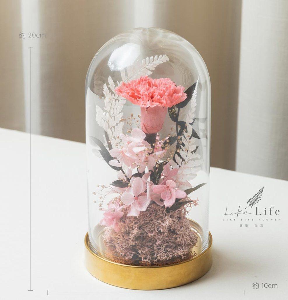 母親節康乃馨花束,台北粉色永生玫瑰花束玻璃罩盆栽金底