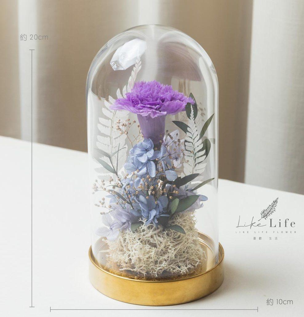 母親節康乃馨花束紫色,台北永生玫瑰花玻璃罩盆栽金色