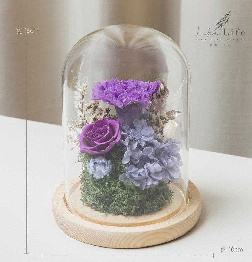 台北母親節康乃馨花束,紫色永生玫瑰花玻璃罩盆栽
