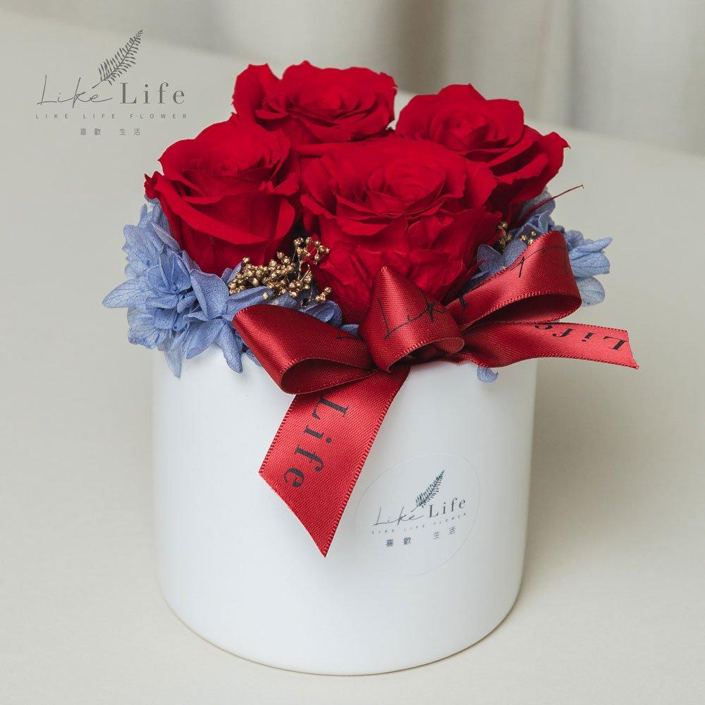 母親節永生玫瑰花盆栽紅色永生玫瑰花