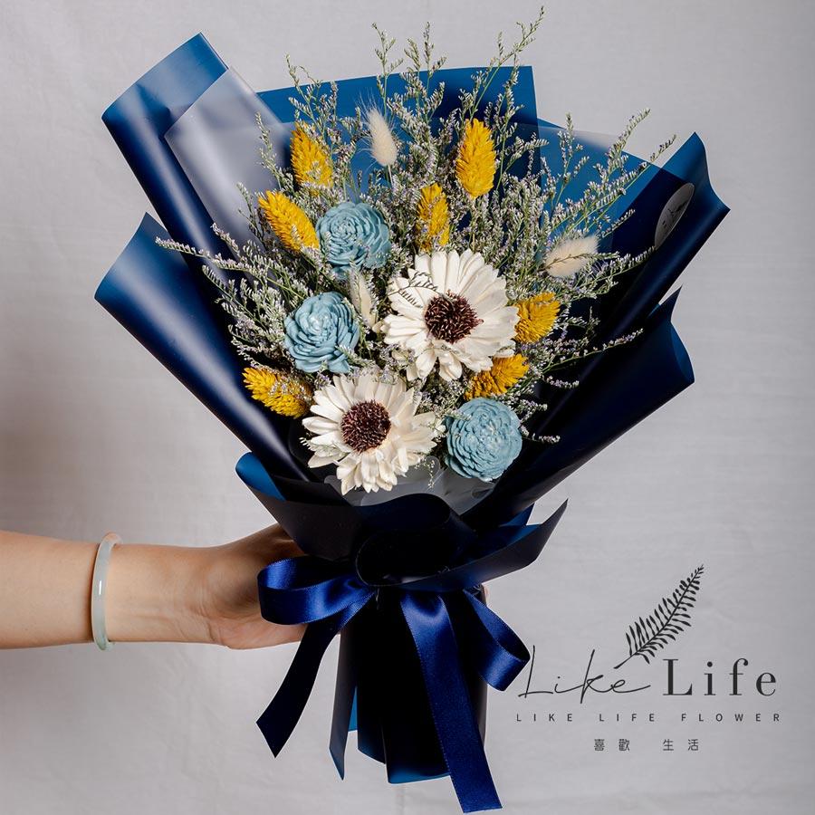 畢業花束,向日葵畢業花束乾燥花藍色花束,藍色系畢業花束