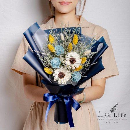 畢業花束,向日葵畢業花束藍色花束封面,向日葵畢業花束