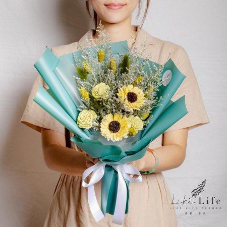 畢業花束推薦台北,向日葵畢業花束綠色,向日葵花束台北