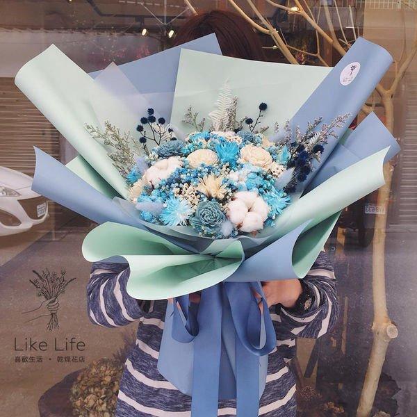 畢業花束,大型畢業乾燥花束藍色,畢業花束大型花束