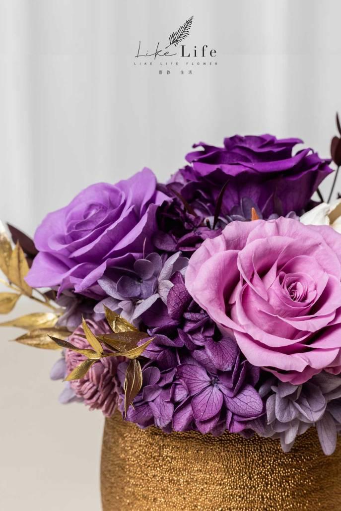 開幕盆栽永生花紫色特寫照金盆盆栽,永生花盆栽,紫色金盆