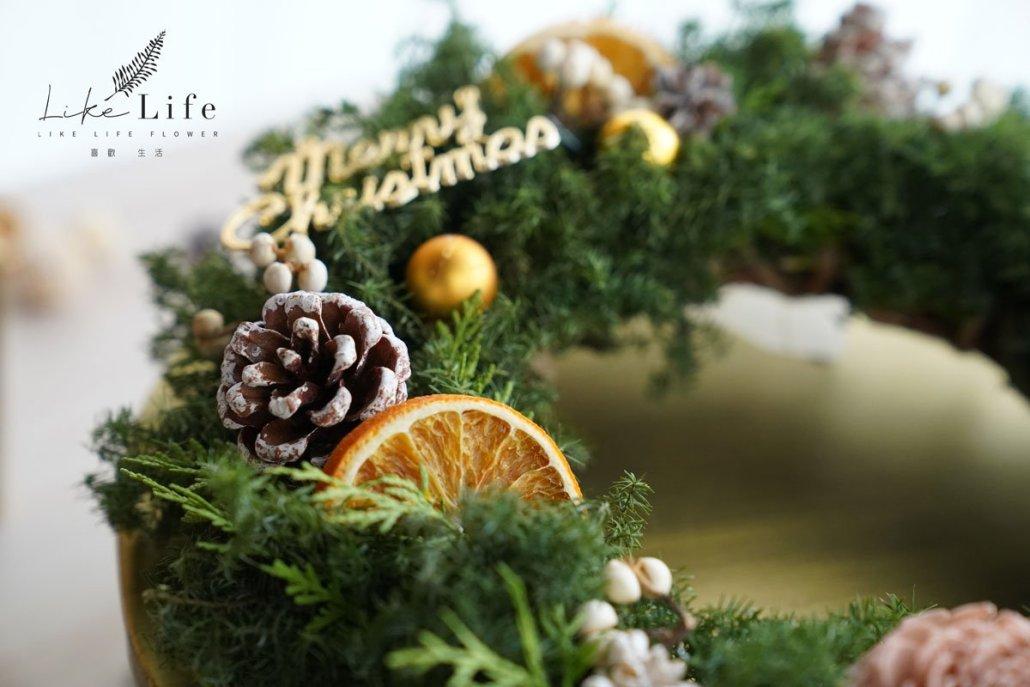 聖誕花圈果實設計特寫,橙片花圈教學,聖誕節花圈課程台北
