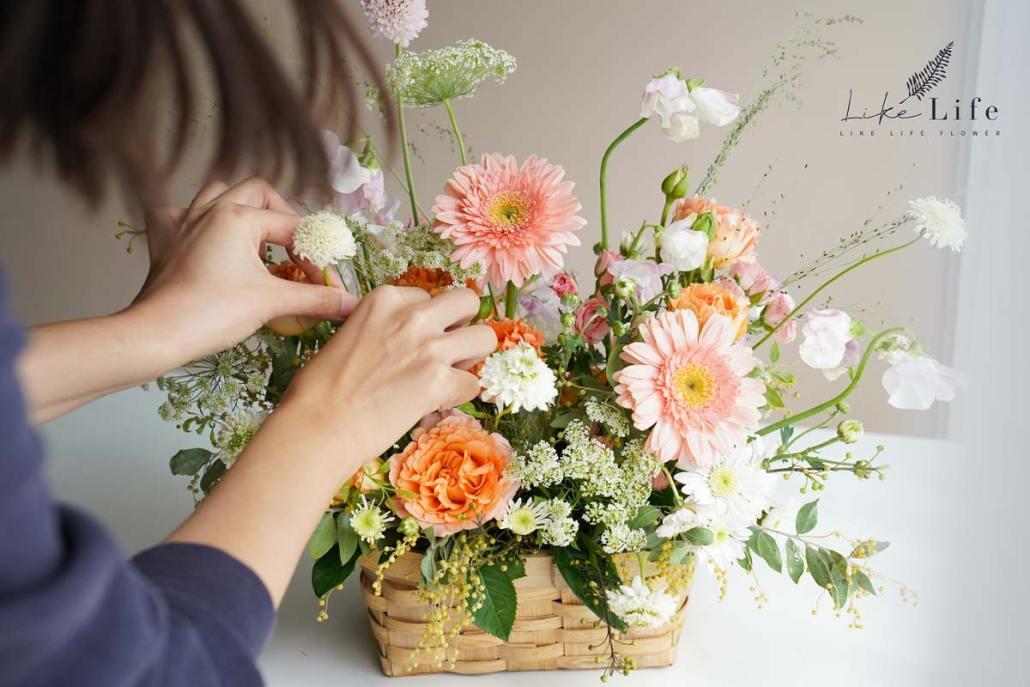 鮮花課程,台北花藝教學,插花教學,喜歡生活乾燥花店