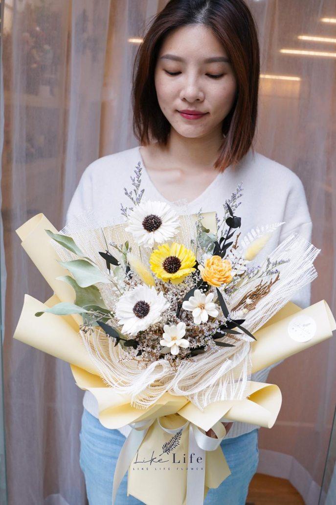 小雛菊花束包裝教學,韓式花束包裝教學,小雛菊永生花束